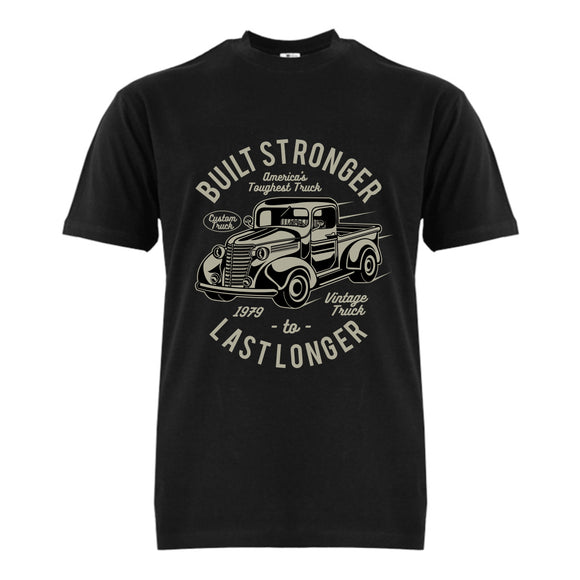 FMstyles Built Stronger Last Longer Black Unisex Tshirt - FMS386