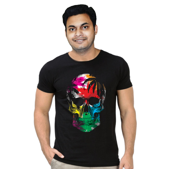 FMstyles Skull Design Colorful Black Unisex Tshirt - FMS338