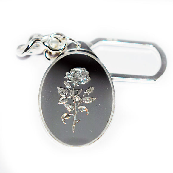 shop137 - Pure Silver Key Ring with one side Rose - FMstyles - Key Ring