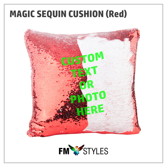 RED MAGIC SEQUIN CUSHION