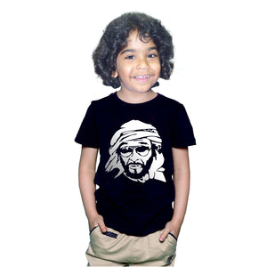 Sheikh Zayed Photo Printed Black KidsTshirt