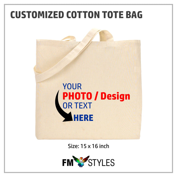Personalized Natural Cotton Canvas Tote Bags (2 Pcs)