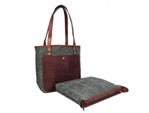 Aaron Leather Goods 15 Inch Women Tote Bag Seaweed