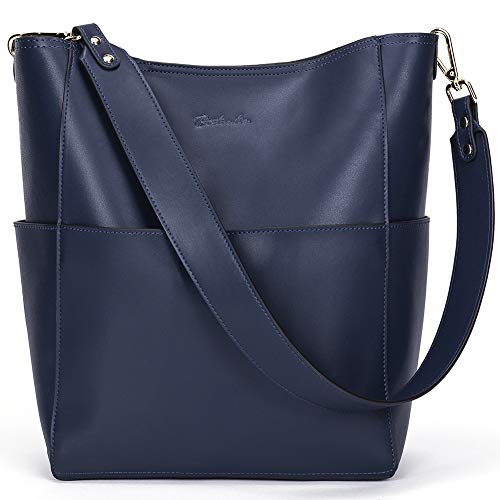 Bostanten Womens Leather Designer Handbags Tote Purses Shoulder Bucket Bags Navy Blue