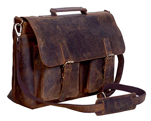 KomalC 15 Inch Retro Buffalo Hunter Leather Laptop Messenger Bag Office Briefcase College Bag