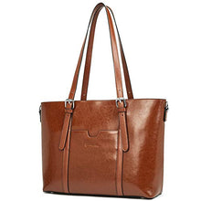 Load image into Gallery viewer, Bostanten Women Leather Laptop Tote Office Shoulder Handbag Vintage Briefcase 15 6 Inch Computer Work Purse Brown