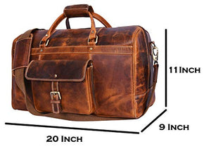 Aaron Leather 20 Inch Full Grain Leather Weekender Duffle Bag Brown