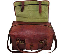 "Load image into Gallery viewer, HLC 21"" Mens Retro Style Carry on Luggage Flap Duffel Leather Duffel Bag"