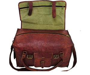 "HLC 21"" Mens Retro Style Carry on Luggage Flap Duffel Leather Duffel Bag"