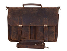 Load image into Gallery viewer, Komalc 15 Inch Retro Buffalo Hunter Leather Laptop Messenger Bag Office Briefcase College Bag