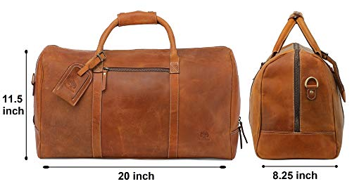2c670055359e ... Leather Travel Duffel Bag - Airplane Underseat Carry On Bags By  RusticTown (Brown) ...