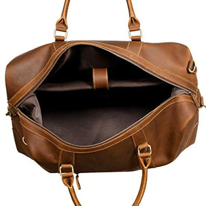 "Viosi Vintage Expandable Duffel Bag Leather Weekender Luggage Travel Bag [21"" Hunter]"