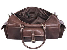 Load image into Gallery viewer, Full Grain Leather Travel Duffle Barrel Bag With Adjustable Straps Large Compartment Zippered Side Pockets Weekend Overnight Bag Coffee 24 Inch