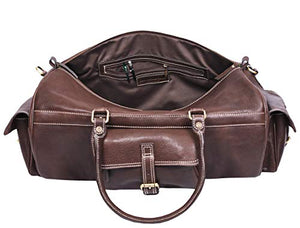 Full Grain Leather Travel Duffle Barrel Bag With Adjustable Straps Large Compartment Zippered Side Pockets Weekend Overnight Bag Coffee 24 Inch