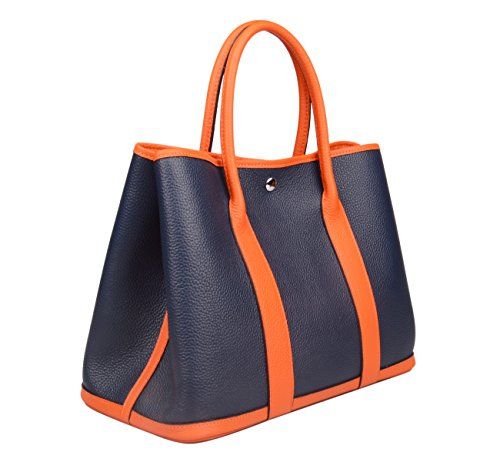 Ainifeel Womens Genuine Leather Top Handle Handbag Shopping Bag Tote Bag Dark Blue Orange