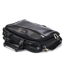 Load image into Gallery viewer, Alpine Swiss Monroe Leather Briefcase Top-Zip Laptop Messenger Bag Black