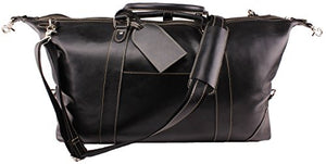 "Viosi Vintage Expandable Duffel Bag Leather Weekender Luggage Travel Bag [21"" Black]"