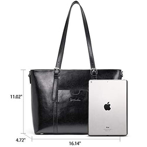 Bostanten Women Leather Laptop Tote Office Shoulder Handbag Vintage Briefcase 15 6 Inch Computer Work Purse Black