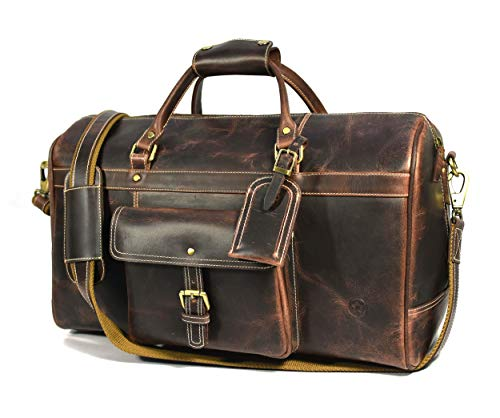 Aaron Leather 20 Inch Full Grain Leather Weekender Duffle Bag Walnut