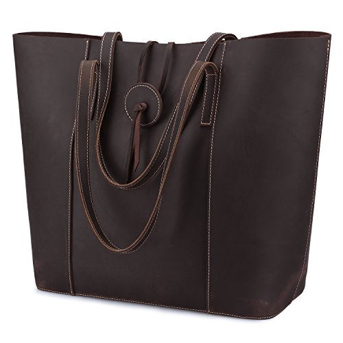 S-ZONE Vintage Crazy Horse Leather Tote Shoulder Bag Purse with Removable Pouch (Brown)