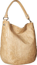 Load image into Gallery viewer, Frye Melissa Hobo Leather Handbag Corner View Sand Color