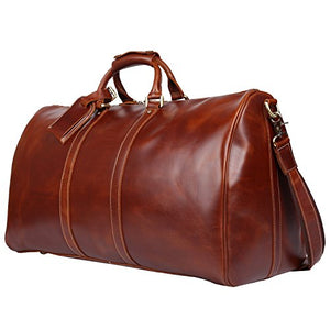 Polare 23'' Duffle Retro Thick Cowhide Leather Weekender Travel Duffel luggage Bag(Brown)