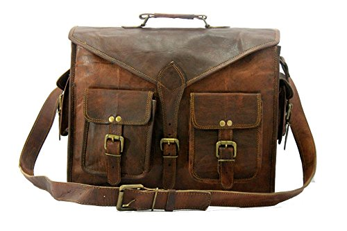 Handmade World Messenger Bag Leather Laptop Bags Computer Satchel Briefcase Unisex15 Inch
