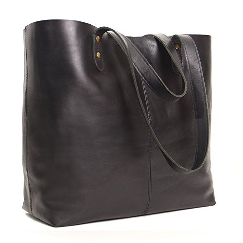 Genuine Leather Tote Bag Large Everyday Shoulder Bag For Work Shopping Gym Or Travel Black