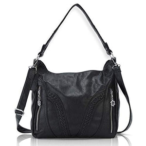 Angel Barcelo Roomy Fashion Hobo Womens Handbags Ladies Purse Satchel Shoulder Bags Tote Washed Leather Bag Black
