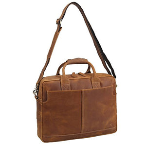 Texbo Genuine Full Grain Leather Mens 16 Inch Laptop Briefcase Messenger Bag Tote