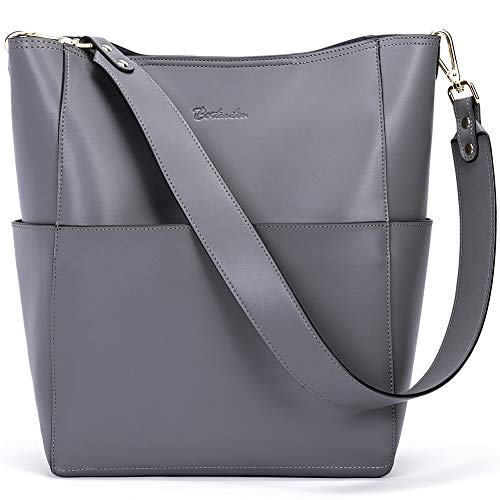 Bostanten Womens Leather Designer Handbags Tote Purses Shoulder Bucket Bags Grey