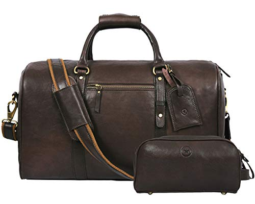 Leather Travel Duffle Bag Gym Sports Bag Airplane Luggage Carry On Bag Gift For Fathers Day By Aaron Leather Umber Gift Set