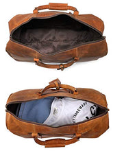 Load image into Gallery viewer, Leather Travel Duffel Bag - Airplane Underseat Carry On Bags By RusticTown (Brown)