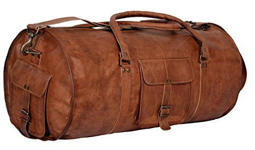 Komal's Passion Leather 24 Inch Duffel Travel Gymovernight Weekend Leather Bag