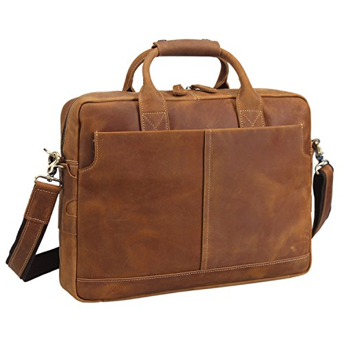 ccbc4a62be6c Texbo Genuine Full Grain Leather Men's 16 Inch Laptop Briefcase Messenger  Bag Tote