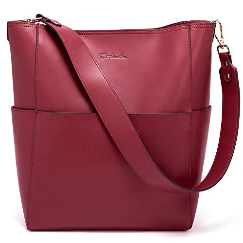 Bostanten Womens Leather Designer Handbags Tote Purses Shoulder Bucket Bags Wine Red
