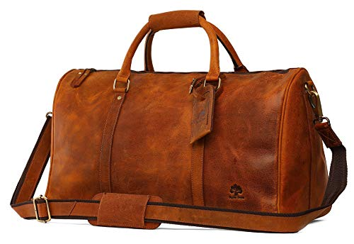 Leather Duffel Bags For Men - Airplane Underseat Carry On Luggage By RusticTown