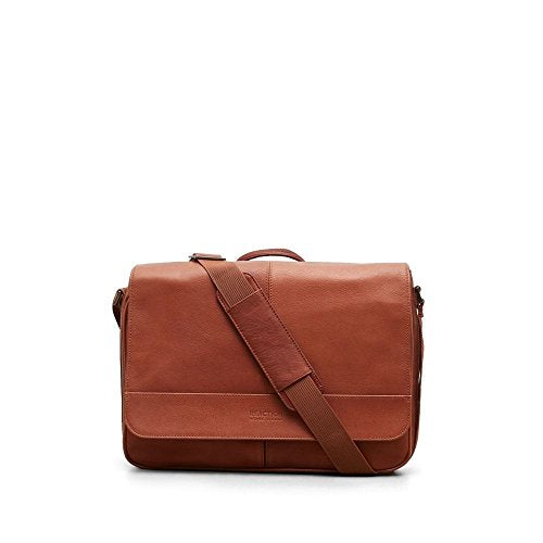 Kenneth Cole Reaction Colombian Leather Slim Single Compartment Flapover Business Messenger Bag, Cognac