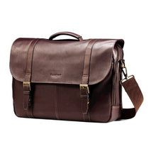 Load image into Gallery viewer, Samsonite Colombian Leather Flap-Over Messenger Bag, Brown
