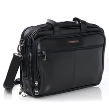 Load image into Gallery viewer, Alpine Swiss Monroe Leather Briefcase Top Zip Laptop Messenger Bag Black