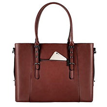 Load image into Gallery viewer, Mosiso Pu Leather Laptop Tote Bag For Women Up To 15 6 Inch Brown