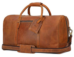 Leather Travel Duffel Bag - Airplane Underseat Carry On Bags By RusticTown (Brown)