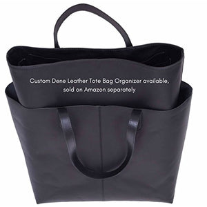 Genuine Leather Tote Bag, Large Everyday Shoulder Bag for Work, Shopping, Gym or Travel (Black)