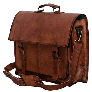 c6cdb8e75a04 PL 18 Inch Vintage Handmade Leather Messenger Bag for Laptop Briefcase  Satchel Bag