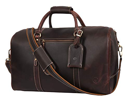 Leather Travel Duffle Bag Gym Sports Bag Airplane Luggage Carry On Bag Gift For Fathers Day By Aaron Leather Medallion