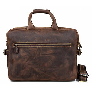 Kattee Crazy Horse Leather Briefcase Shoulder Business Laptop Bags Tote Coffee