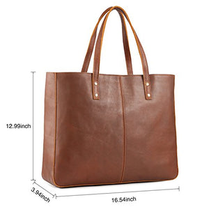 Kattee Genuine Cow Leather Tote Bag Vintage Large Handbag Brown