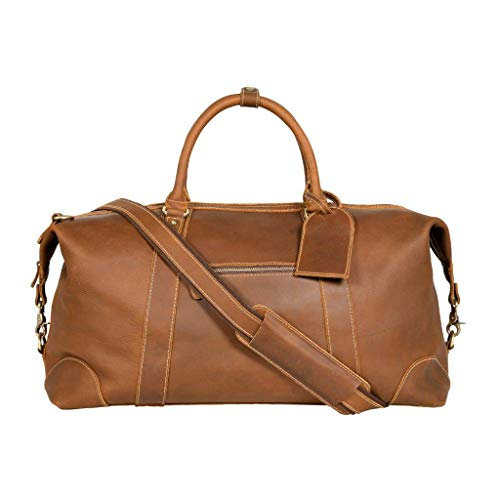 Viosi Vintage Expandable Duffel Bag Leather Weekender Luggage Travel Bag 21 Hunter