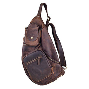 Cool Real Leather Cross Body Sling Bag Chest Bag Backpack Large