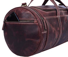 Load image into Gallery viewer, Full Grain Leather Travel Duffle Barrel Bag With Adjustable Straps Large Compartment Zippered Side Pockets Weekend Overnight Bag Walnut 20 Inch